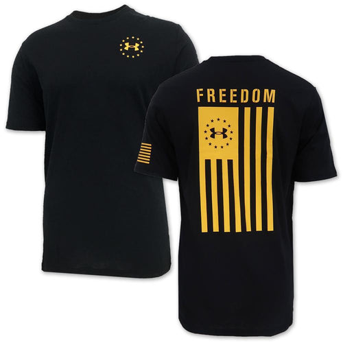 UNDER ARMOUR FREEDOM FLAG T-SHIRT (BLACK/GOLD) 2