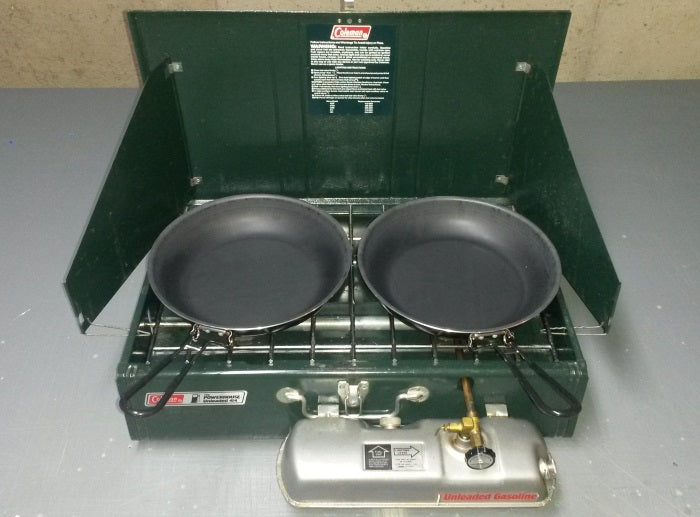 Coleman 414 with fry pans