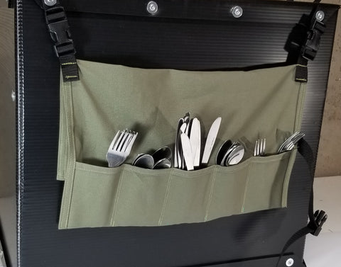 The Flatware Holder hanging from the back of the Camping Kitchen Box.