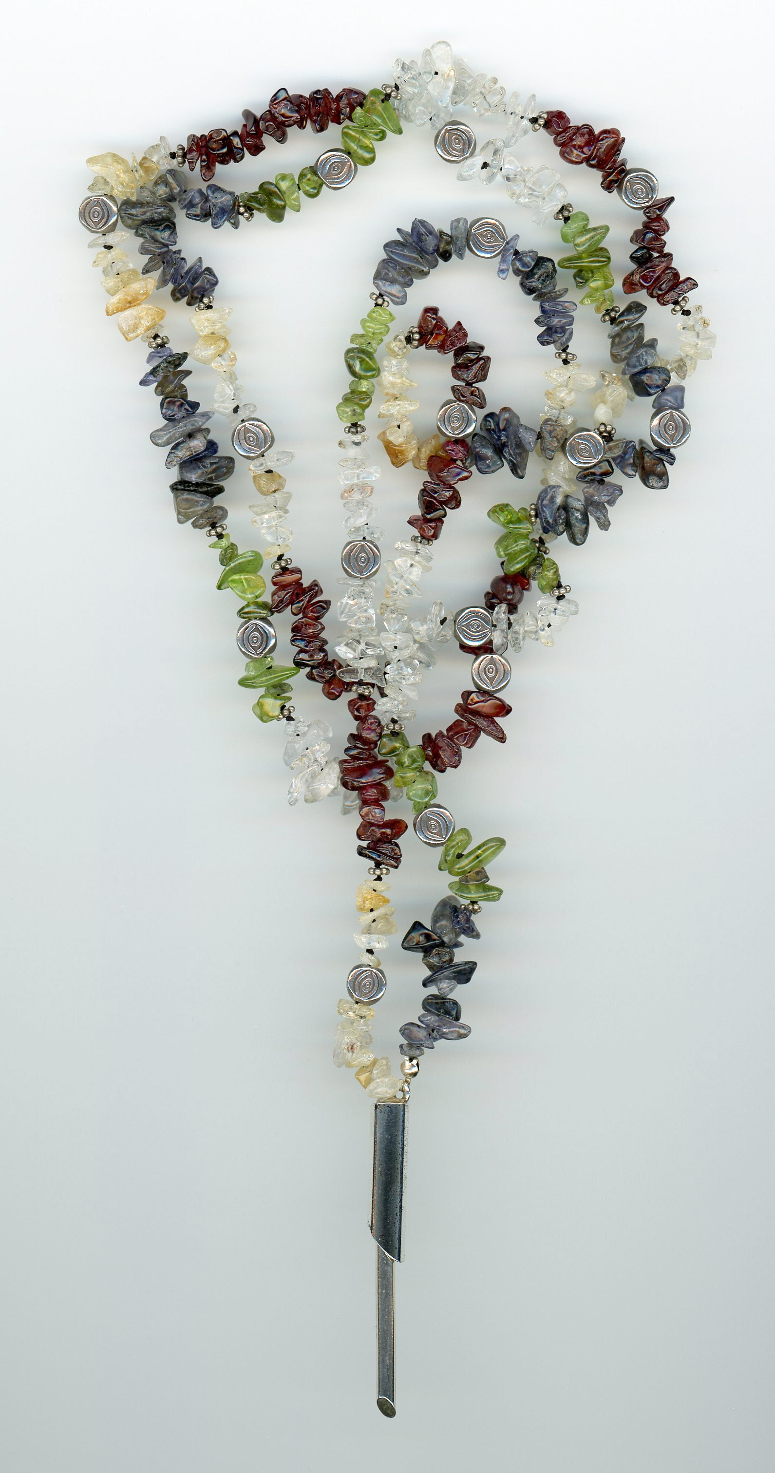 Precious Stone Chip Lariat Necklace