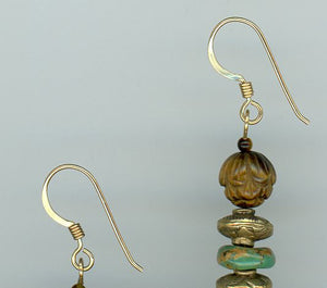 Turquoise and Tiger's Eye Earrings