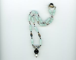 Amazonite and Black Onyx Necklace - UniqueCherie