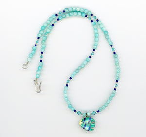 Amazonite Cloisonné Fish Necklace - UniqueCherie