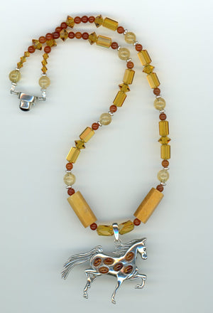 Amber Sterling Horse Necklace - UniqueCherie