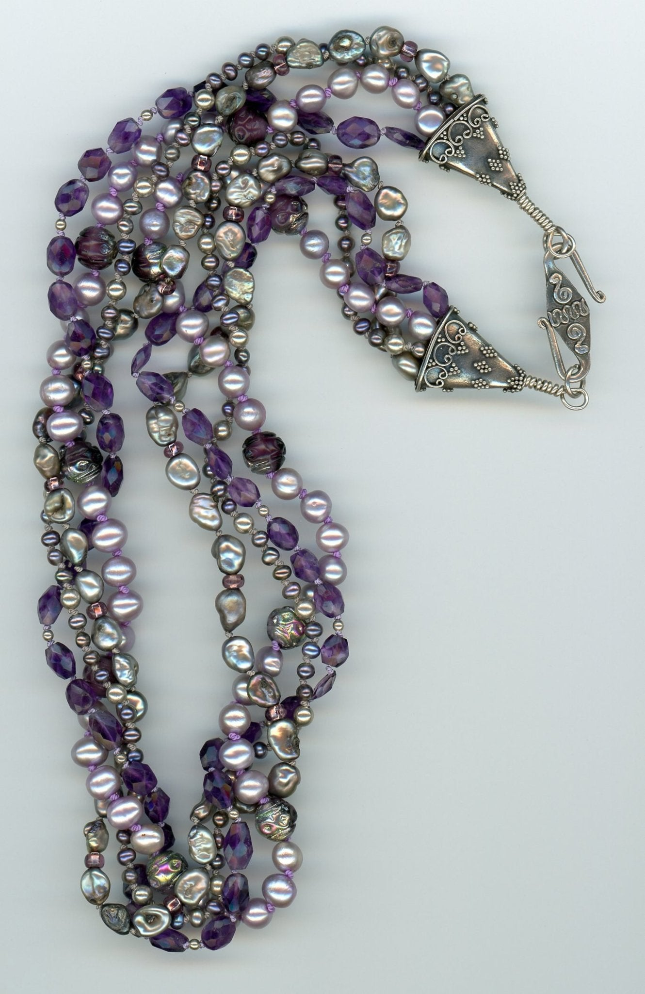 Amethyst and Pearl Four Strand Necklace - UniqueCherie