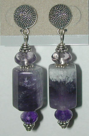 Amethyst Barrel Earrings - UniqueCherie