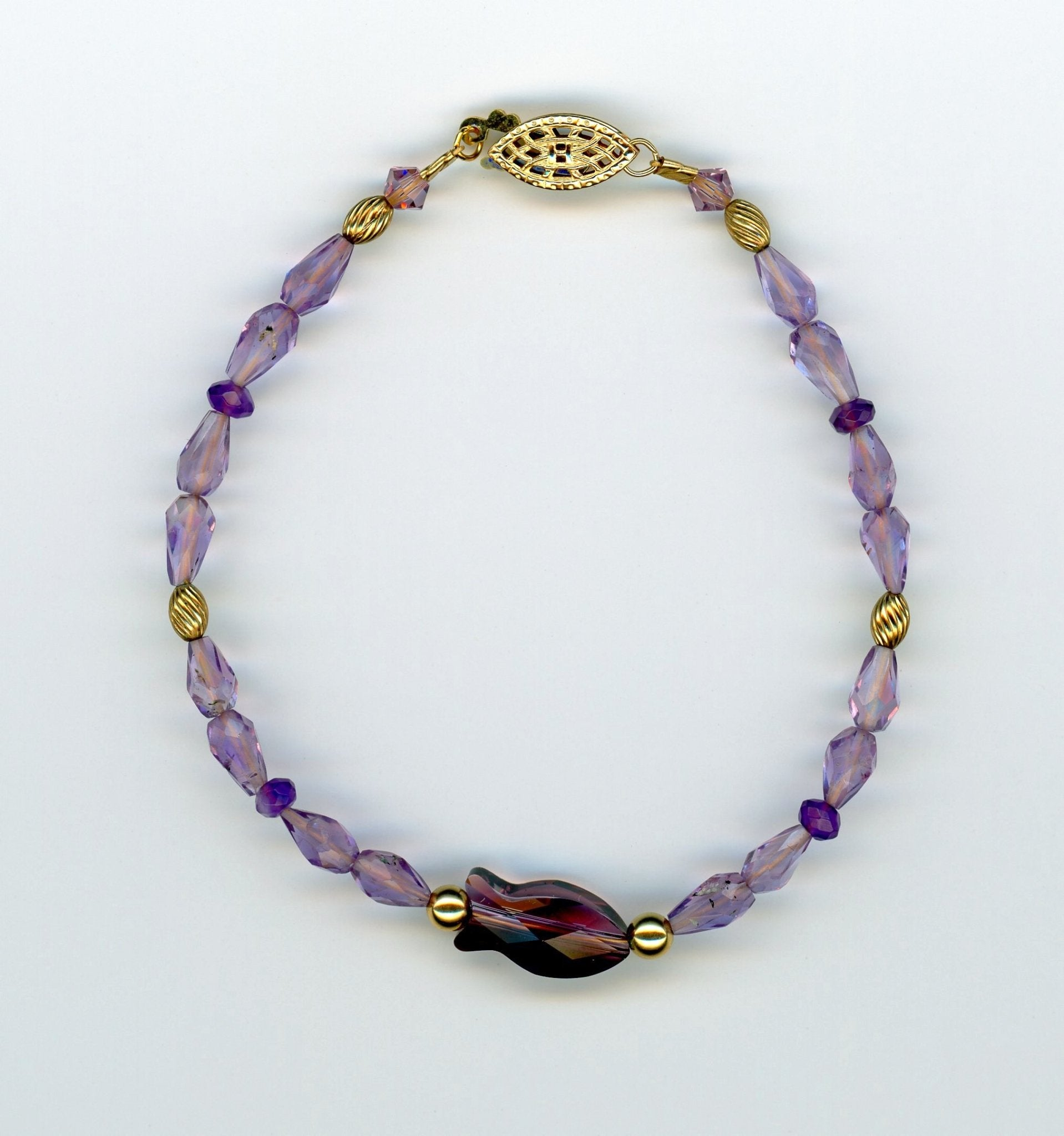 Amethyst Crystal Fish Bracelet - UniqueCherie