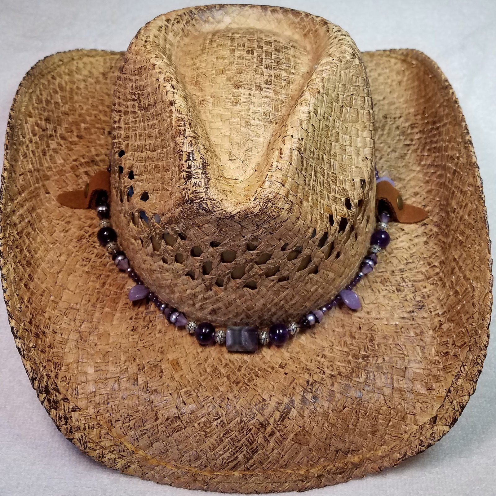 Amethyst Necklace Hat Band on Western Hat - UniqueCherie