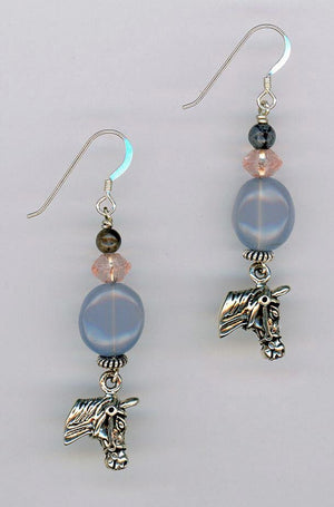 Blue Chalcedony Horse Head Earrings - UniqueCherie