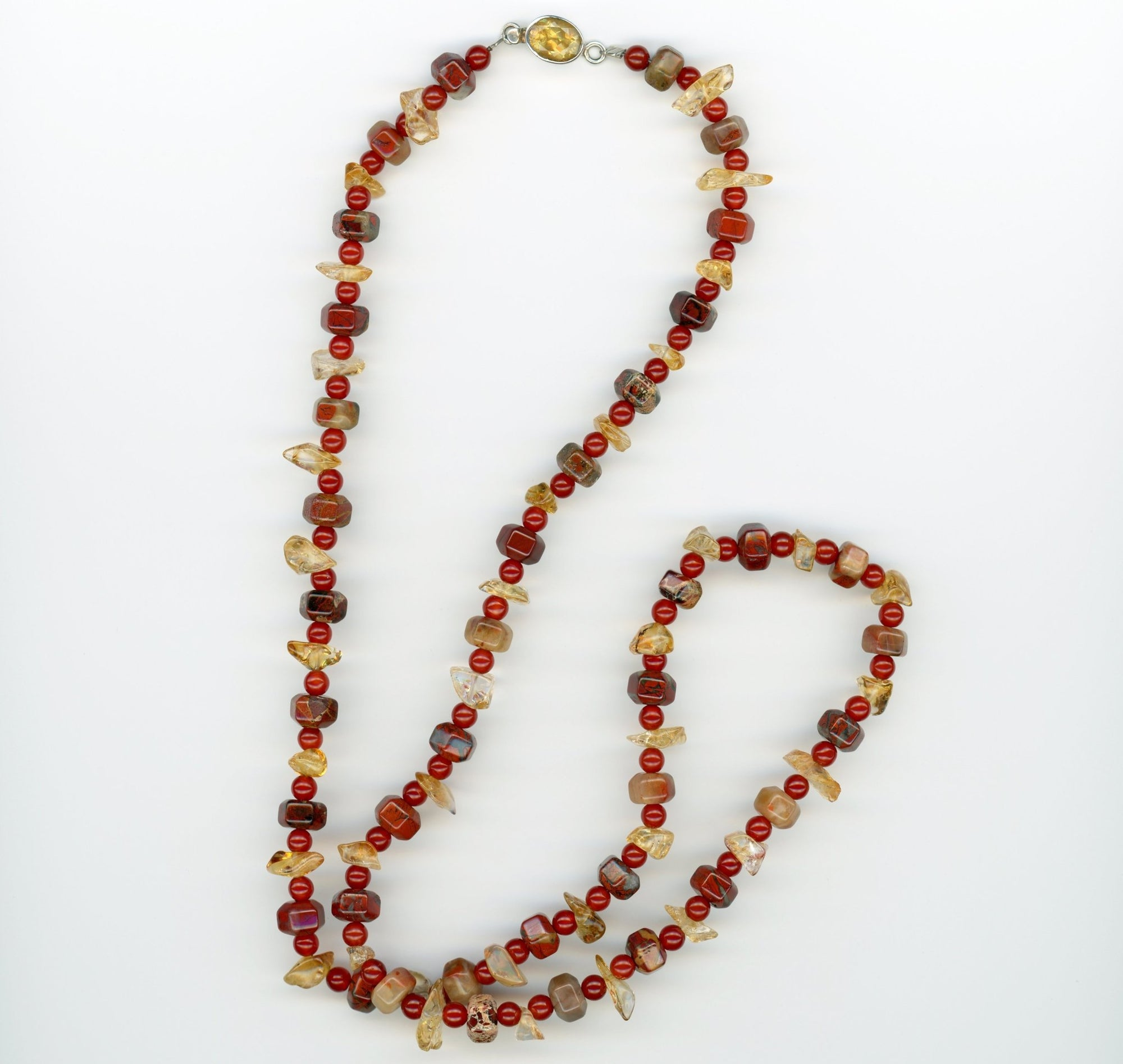 Brecciated Jasper, Citrine and Carnelian Necklace - UniqueCherie