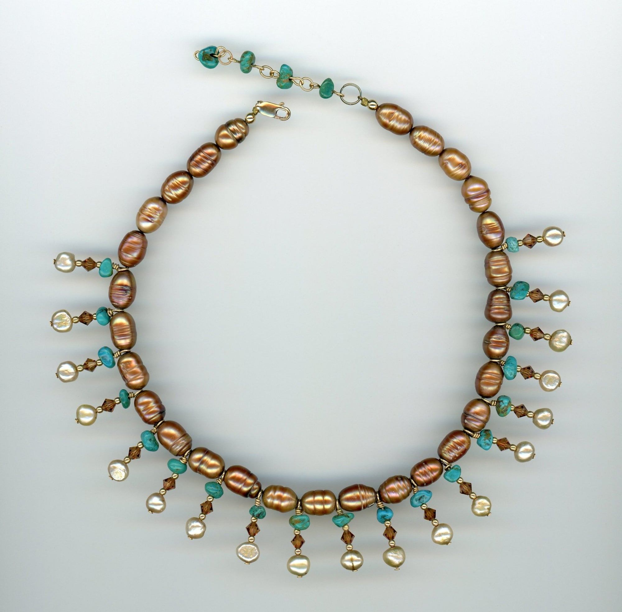 Bronze Pearl and Turquoise Choker - UniqueCherie