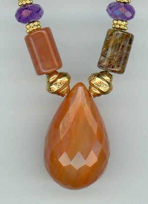 Carnelian, Amethyst and Rutilated Quartz Necklace - UniqueCherie