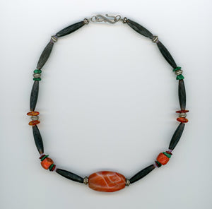 Carnelian, Horn and Coral Choker - UniqueCherie