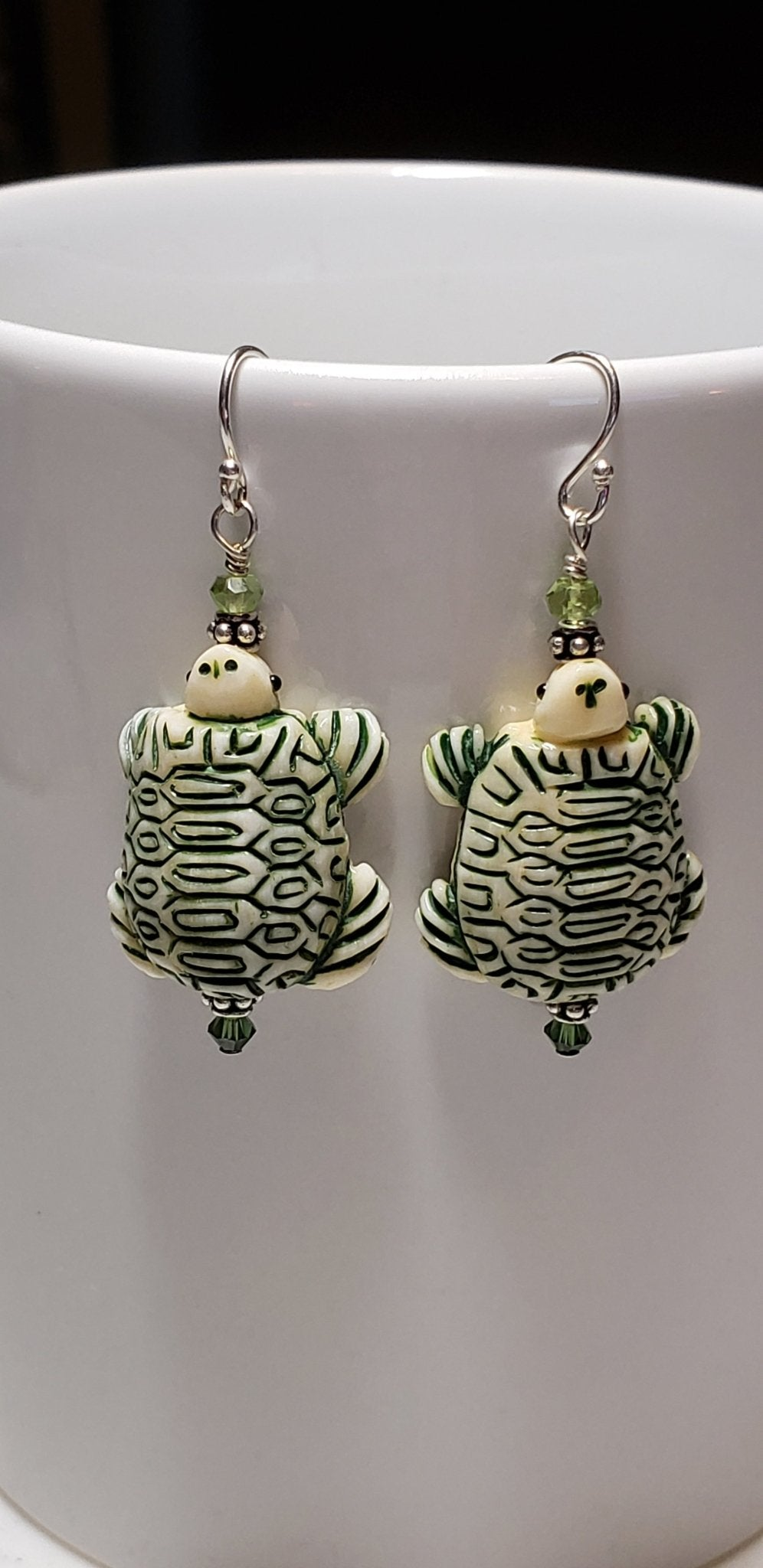 Carved Bone Sea Turtle Earrings - UniqueCherie