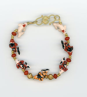 Ceramic Koi and Gold Vermeil Bracelet - UniqueCherie