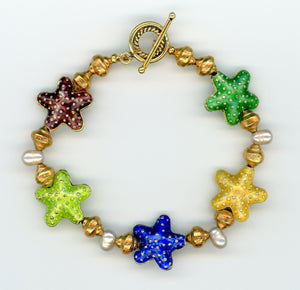 Cloisonné Starfish and Vermeil Bracelet - UniqueCherie