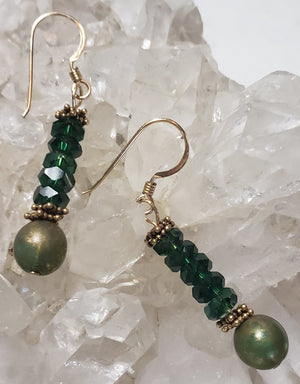 Emerald Green Crystal Earrings - UniqueCherie