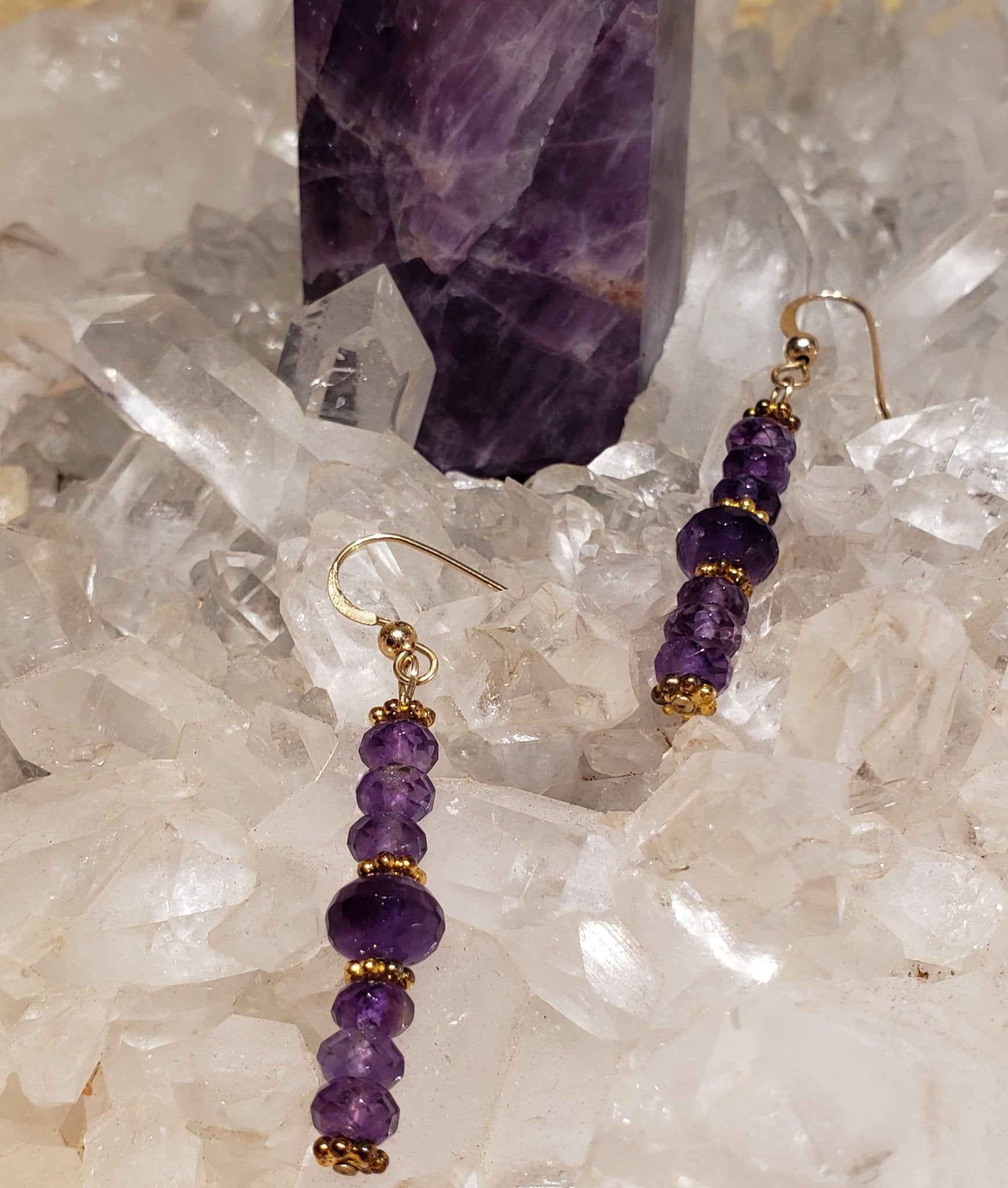 Faceted Amethyst Gemstone Earrings - UniqueCherie