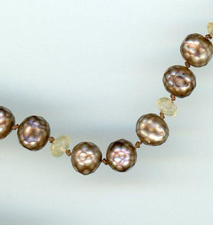 Faceted Pearl and Citrine Necklace - UniqueCherie