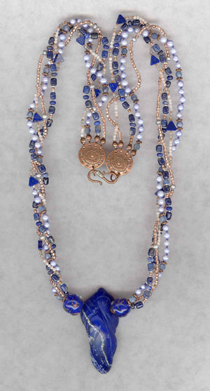 Four Strand Carved Lapis Necklace - UniqueCherie