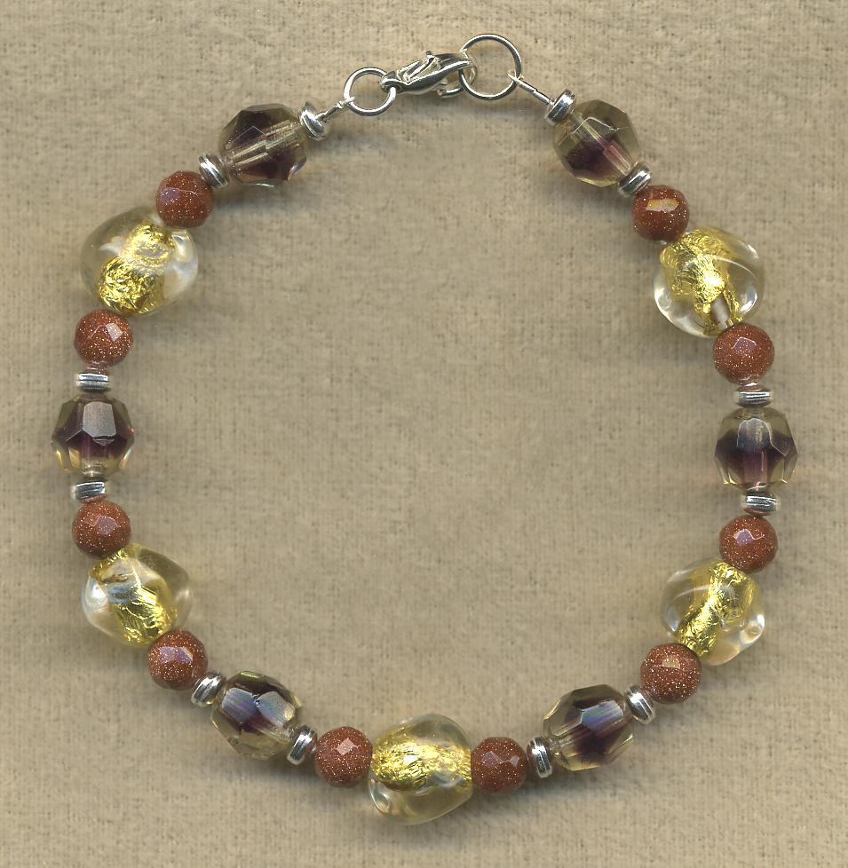 Glass and Goldstone Bracelet - UniqueCherie