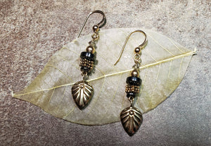 Gold Vermeil Leaf Earrings - UniqueCherie