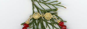 Gold Vermeil Shell and Ruby Quartz Bracelet - UniqueCherie