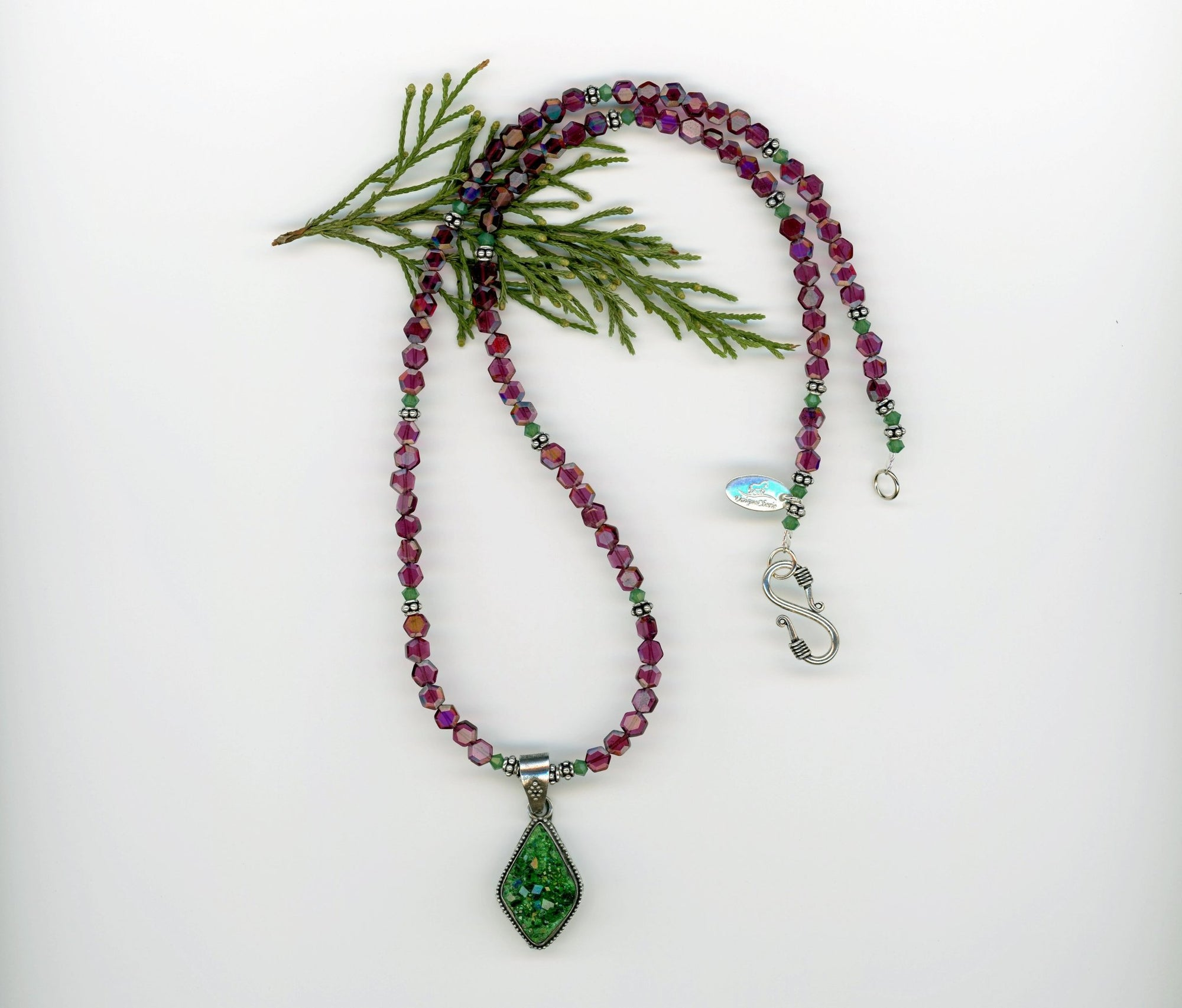 Green Garnet Druzy and Red Garnet Necklace - UniqueCherie