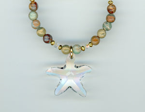 Jasper and Crystal Starfish Necklace - UniqueCherie