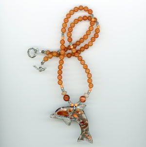 Jasper and Red Aventurine Dolphin Necklace - UniqueCherie