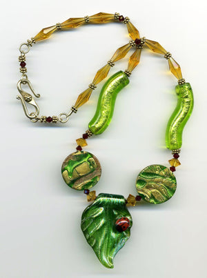 Ladybug Lampwork Glass Necklace - UniqueCherie