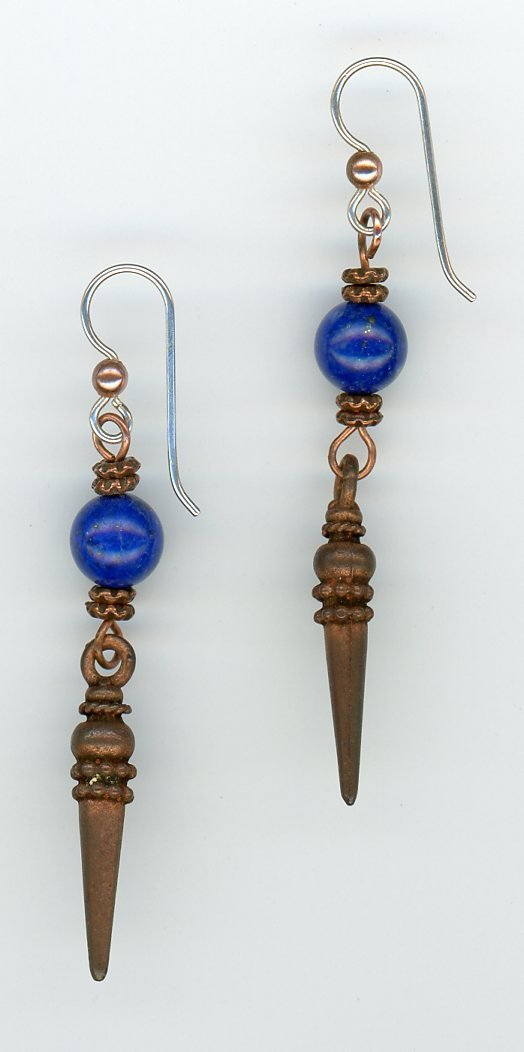Lapis and Copper Earrings - UniqueCherie