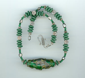 Malachite Lampwork Glass Necklace - UniqueCherie