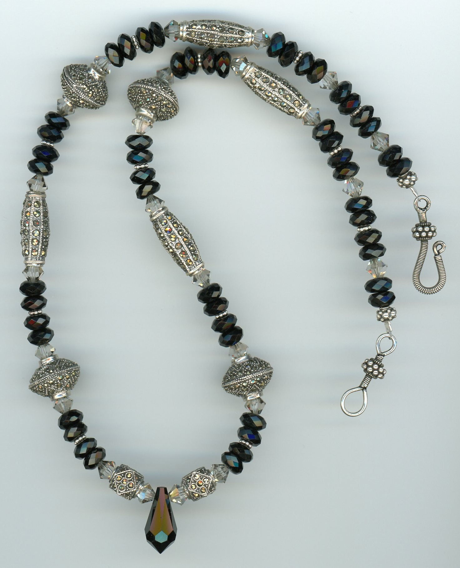 Marcasite and Black Onyx Necklace - UniqueCherie