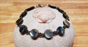 Paua Abalone and Swarovski Crystal Bracelet - UniqueCherie