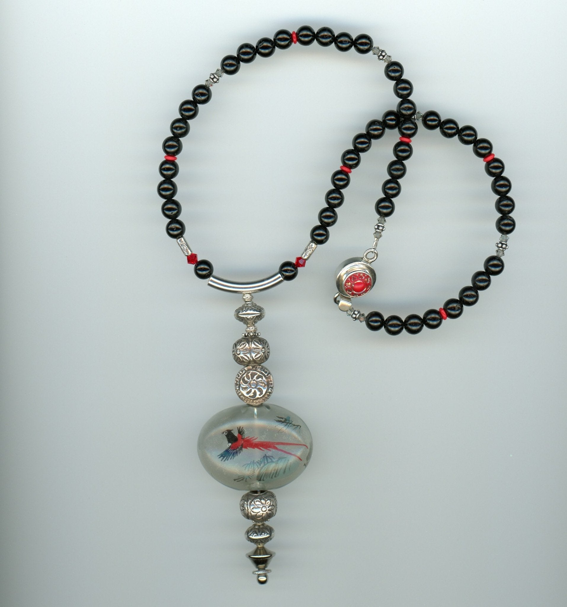 Phoenix Rising Vintage Glass, Tourmaline and Sterling Silver Necklace - UniqueCherie