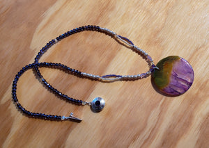 Purple and Yellow Druzy Geode Agate Necklace - UniqueCherie
