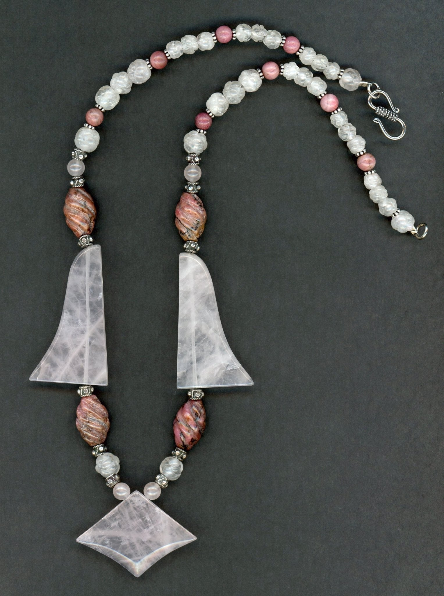 Rose Quartz and Rhodonite Necklace - UniqueCherie