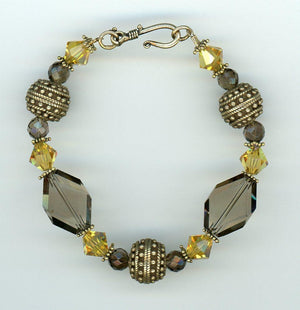 Smoky Quartz and Gold Vermeil Bracelet - UniqueCherie