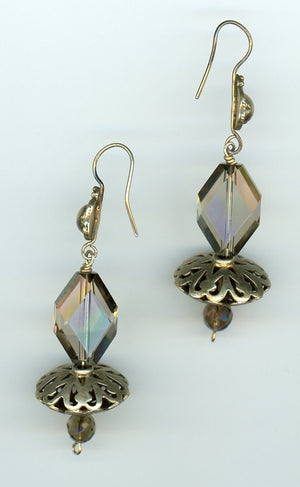 Smoky Quartz and Gold Vermeil Earrings - UniqueCherie