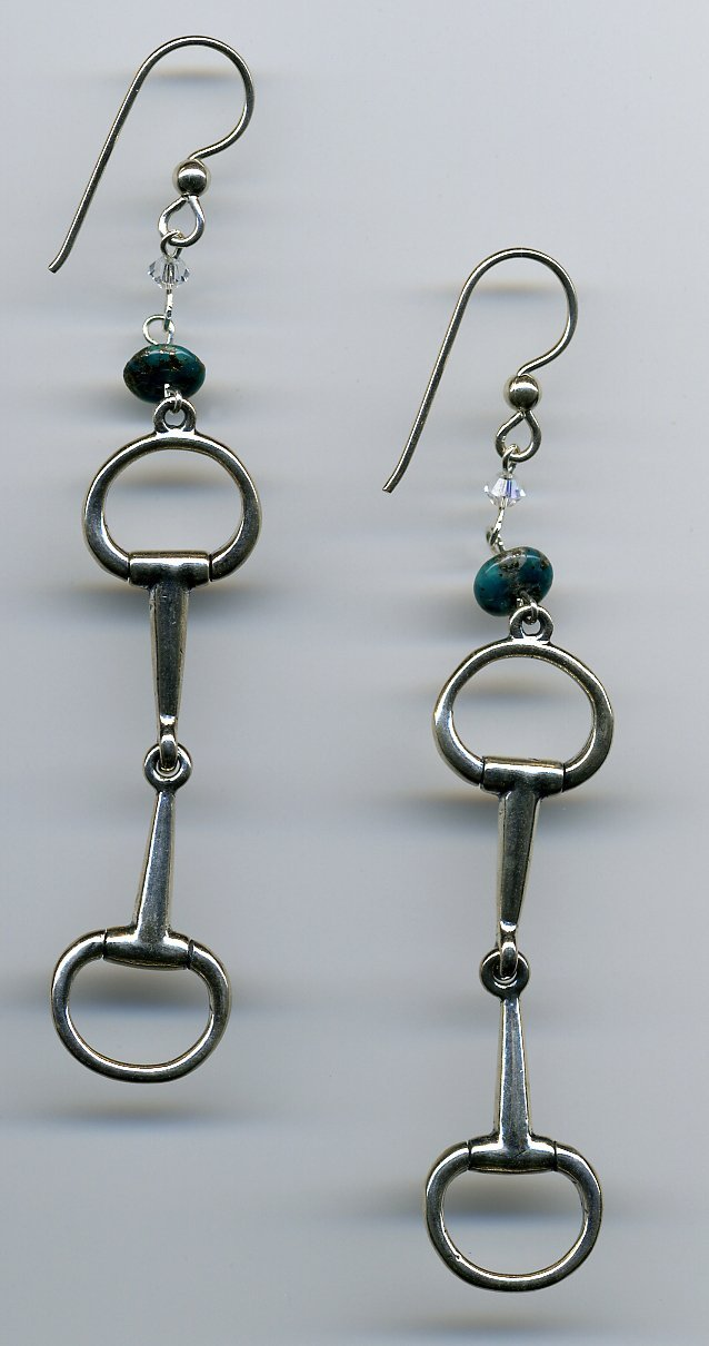 Sterling and Turquoise Snaffle Earrings - UniqueCherie