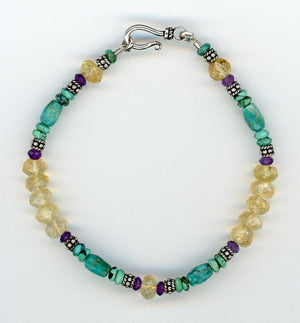 Turquoise, Citrine and Amethyst Bracelet - UniqueCherie