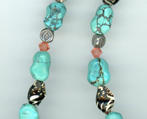 Turquoise Silver and Shell Necklace - UniqueCherie
