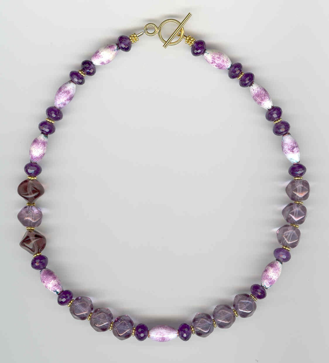 Volcanic Ash and Amethyst Choker - UniqueCherie
