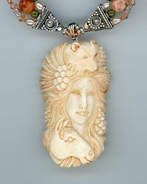 Woman, Wolf and Horse Carved Bone Necklace - UniqueCherie