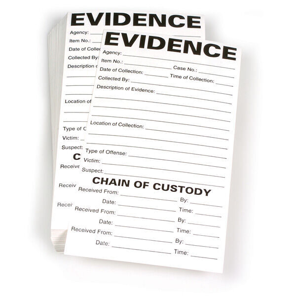 "Evidence/Chain of Custody Label, 3.5"" x 6.5"", Pack of 100"