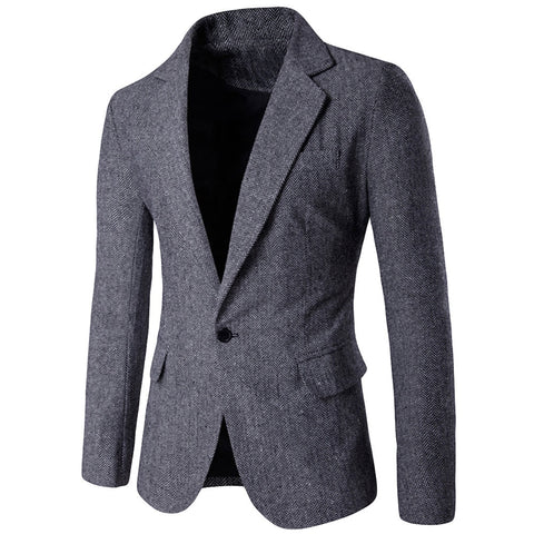 Formal Polyester Single Button Men's Jacket