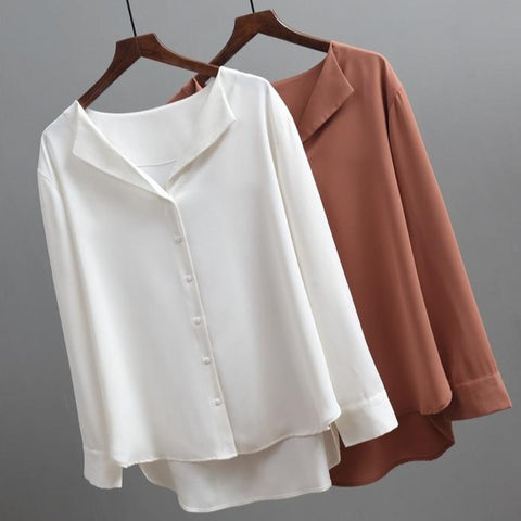 Chiffon Female Blouse Shirts - Solid Color