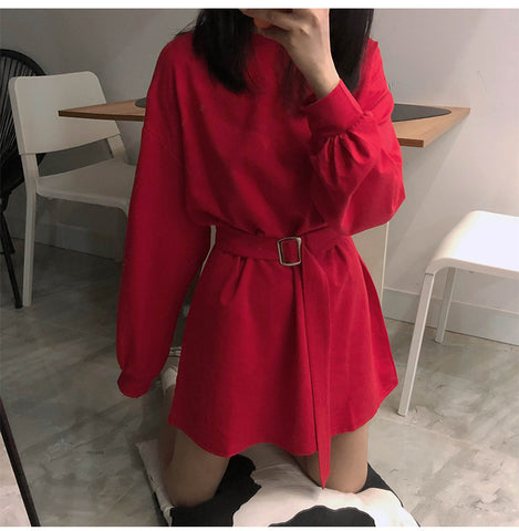 Solid Color Long Sleeve Dress With Belt