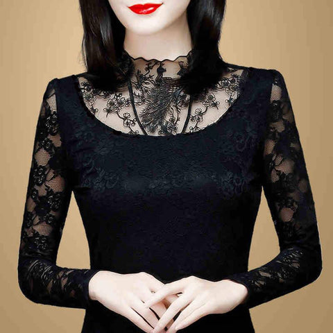 TurtleNeck Lace Blouses Long Sleeve Shirt